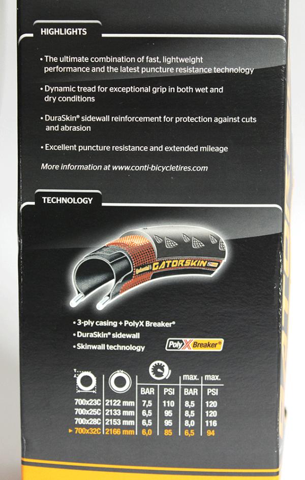 PneuContinentalGatorSkin700x32b 600x945 - Pneu Continental GatorSkin 700x32 Tecnologia Poly X Breaker